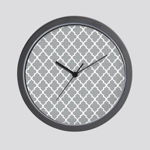 Grey and White Quatrefoil Wall Clock
