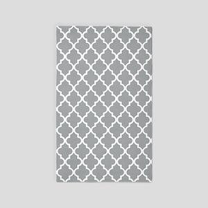 Grey and White Quatrefoil Area Rug