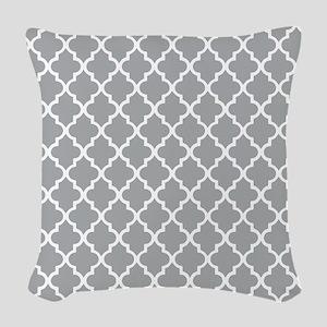 Grey and White Quatrefoil Woven Throw Pillow