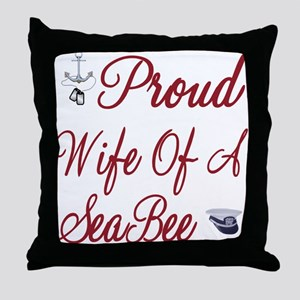 proud wife of a seabee Throw Pillow