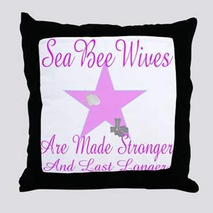 seabee wives made stroger to Throw Pillow