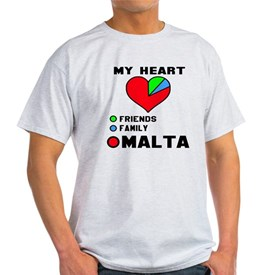 My Heart Friends, Family and Malta T-Shirt