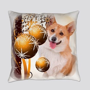 Holiday Corgi with Ornaments Everyday Pillow