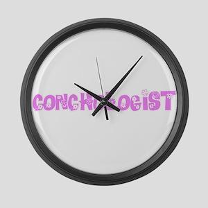 Conchologist Pink Flower Design Large Wall Clock