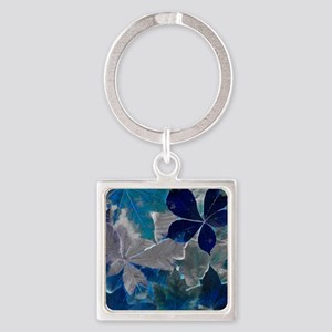 Fallen Leaves Abstract Square Keychain