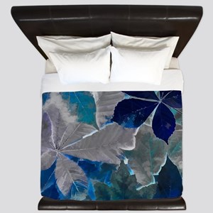 Fallen Leaves Abstract King Duvet
