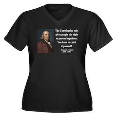 Benjamin Franklin 5 Women's Plus Size V-Neck Dark