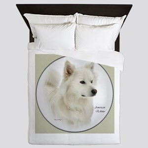 American Eskimo Dog Art Round Queen Duvet