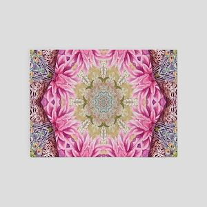 zen pink lotus flower hipster 5'x7'Area Rug