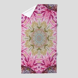zen pink lotus flower hipster Beach Towel
