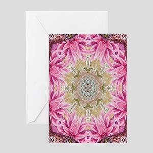 zen pink lotus flower hipster Greeting Cards