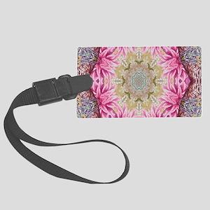 zen pink lotus flower hipster Large Luggage Tag