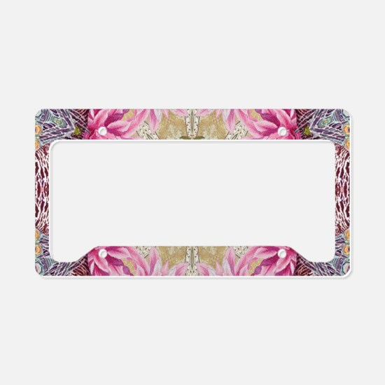 zen pink lotus flower hipster License Plate Holder