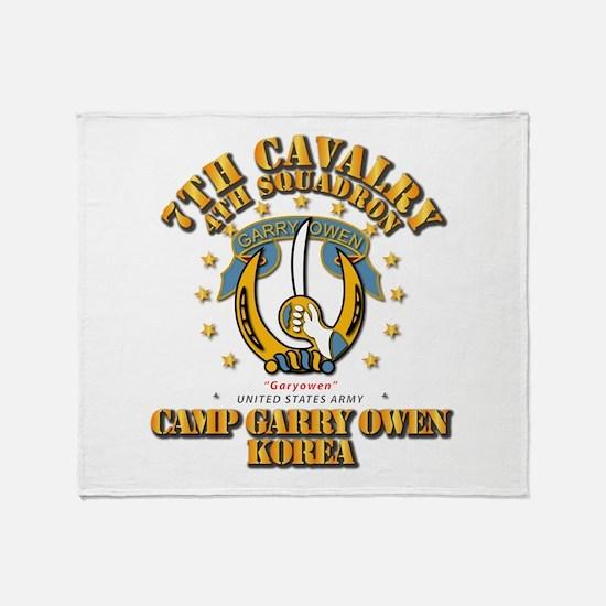4/7 Cav - Camp Gary Owen Korea Throw Blanket