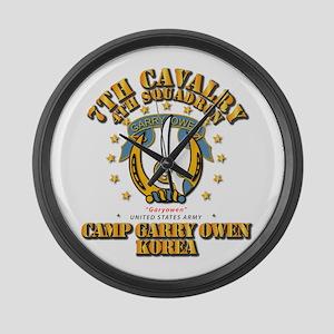 4/7 Cav - Camp Gary Owen Korea Large Wall Clock