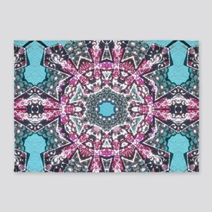 cute girly pink turquoise cowgirl 5'x7'Area Rug