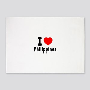 I Love Philippines 5'x7'Area Rug