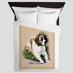 Saint Bernard Watercolor Matted Queen Duvet