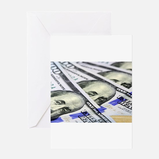 US Currency One Hundred Dollar Bill Greeting Cards