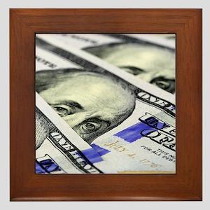 US Currency One Hundred Dollar Bill Framed Tile