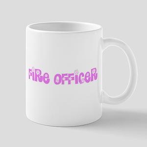 Fire Officer Pink Flower Design Mugs