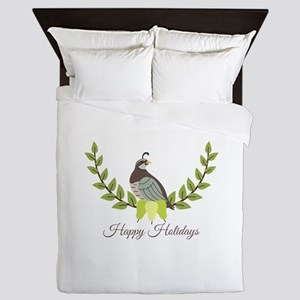 Happy Holidays Queen Duvet