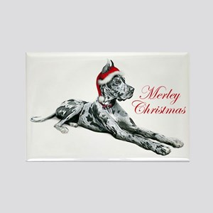 Great Dane Merley Christmas Rectangle Magnet