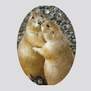 Prairie Dog Kiss Ornament (Oval)