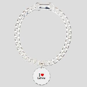 I Love Latvia Charm Bracelet, One Charm
