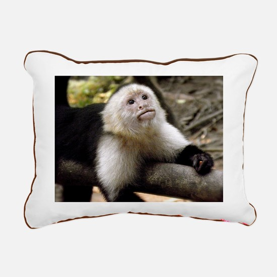 Baby Capuchin Monkey Rectangular Canvas Pillow