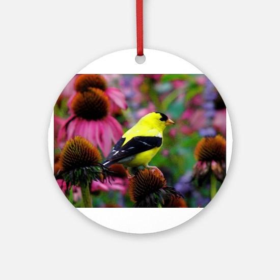 Gold Finch Round Ornament