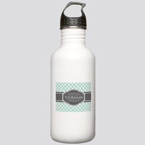 Mint and Gray Moroccan Stainless Water Bottle 1.0L