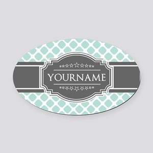 Mint and Gray Moroccan Quatrefoil Oval Car Magnet