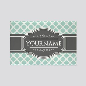 Mint and Gray Moroccan Quatrefoil Rectangle Magnet