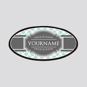 Mint and Gray Moroccan Quatrefoil Monogram Patch