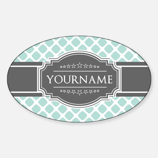 Mint and Gray Moroccan Quatrefoil M Sticker (Oval)
