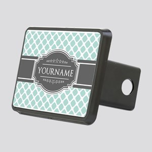 Mint and Gray Moroccan Qua Rectangular Hitch Cover