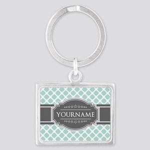 Mint and Gray Moroccan Quatrefo Landscape Keychain