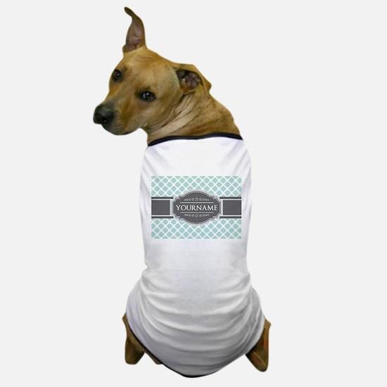 Mint and Gray Moroccan Quatrefoil Mono Dog T-Shirt
