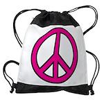 Pink Peace Sign Drawstring Bag