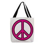 Pink Peace Sign Polyester Tote Bag
