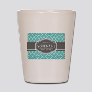 Turquoise and Gray Moroccan Quatrefoil Shot Glass