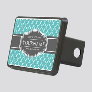 Turquoise and Gray Morocca Rectangular Hitch Cover