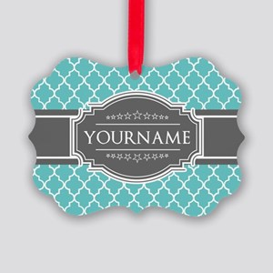Turquoise and Gray Moroccan Quatr Picture Ornament