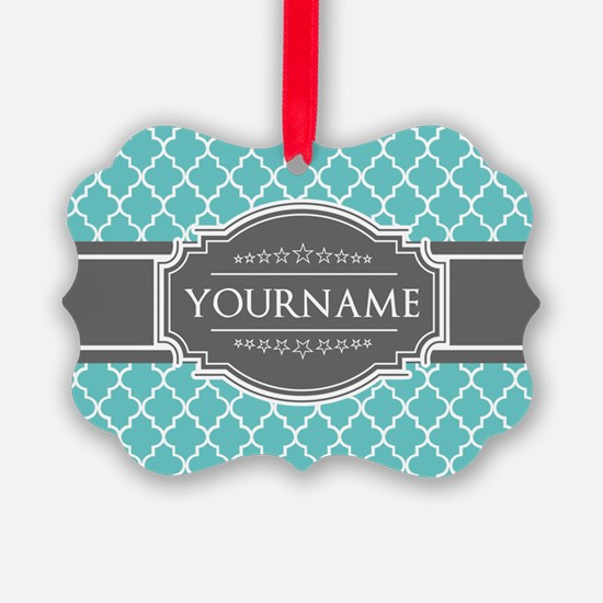 Turquoise and Gray Moroccan Quatr Ornament