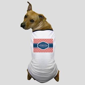 Coral Moroccan Tiles Lattice Personali Dog T-Shirt
