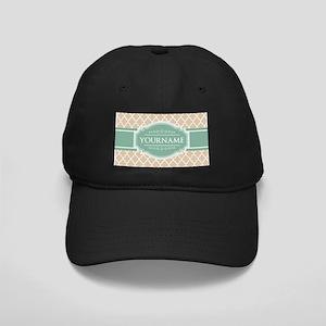 Chic Linen Moroccan Lattice Personalized Black Cap