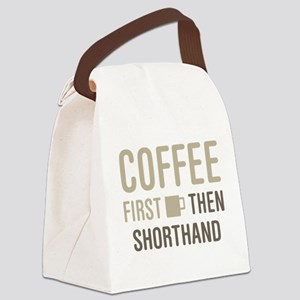Coffee Then Shorthand Canvas Lunch Bag