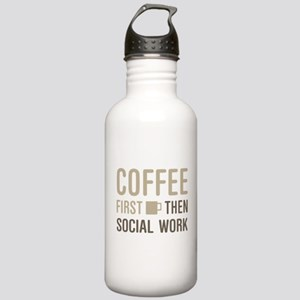 Coffee Then Social Wor Stainless Water Bottle 1.0L