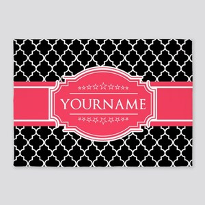 Black White Moroccan Hot Pink Name 5'x7'Area Rug
